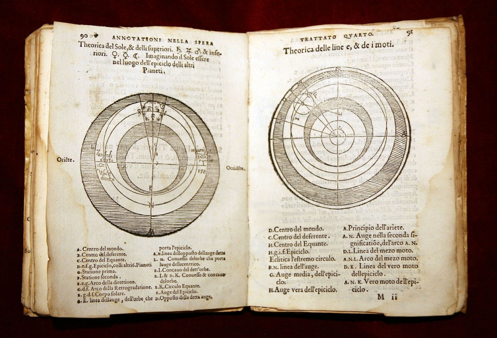 Ptolemaic system explained in -Tractus de Sphaera- by Sacrobosco on a 1550 edition by Lorenzo Torrentino